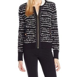 Calvin Klein NEW Black Women's Size Medium M Marled Knit Bomber Jacket