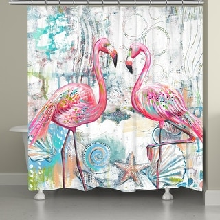 Flamingos of The Sea Shower Curtain