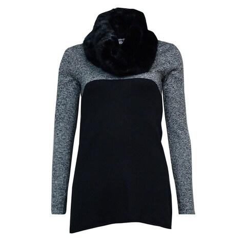 Style & Co. Women's Faux Fur Colorblock Tunic Sweater - Black/White