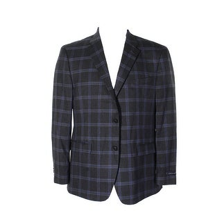 736c68b7f Shop Tommy Hilfiger Grey Blue Plaid Slim-Fit Stretch Performance Notch  Lapel Blazer - R42 - Free Shipping Today - Overstock - 24190992
