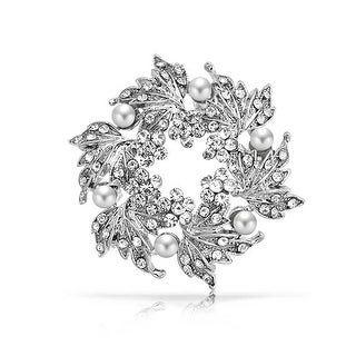 Bling Jewelry Imitation Pearl Flower Crystal Wreath Brooch Rhodium Plated