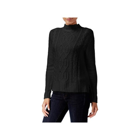 Kensie Womens Mock Turtleneck Sweater Cable Knit Ribbed Trim
