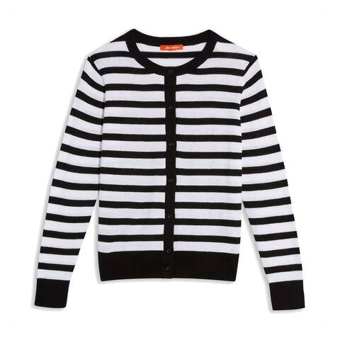 JOE FRESH Womens Sweater White Black Size XS Striped Button Up Cardigan