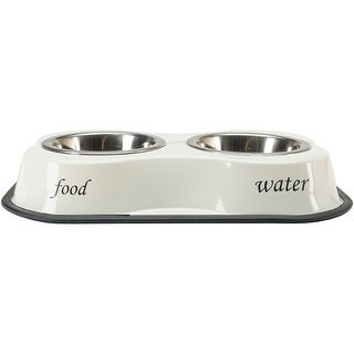 Food & Water Print Ivory -Bone Shaped Double Diner W/2 1Pt Stainless Steel Bowls