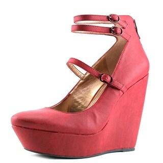 BCBGeneration Jeffery Women  Open Toe Leather Burgundy Wedge Heel