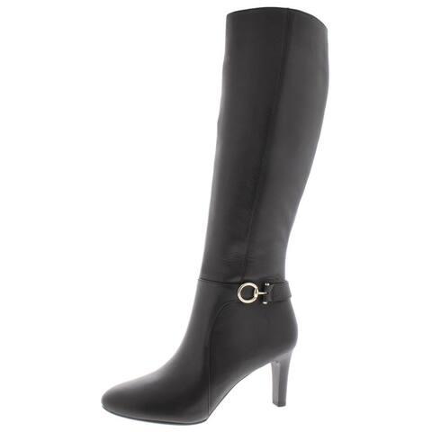 Bandolino Womens Lella Almond Toe Knee High, Black Leather, Size 11.0 - 11