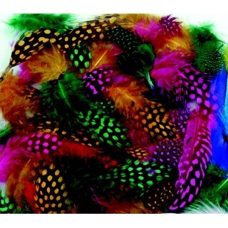 Creativity Street Non-Toxic Spotted Feather, 3 - 4 in, Assorted Color, 1/4 oz Bag, Pack of 200