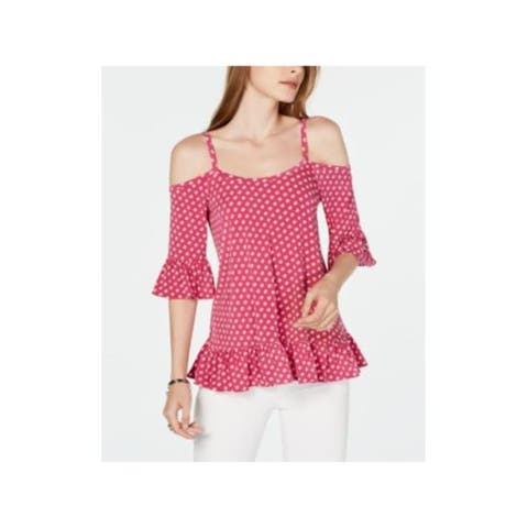 MICHAEL KORS Womens Pink Printed 3/4 Sleeve Square Neck Top Size: L