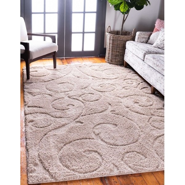 Unique Loom Carved Floral Shag Area Rug. Opens flyout.