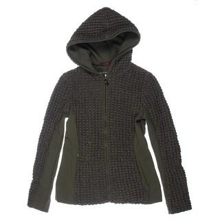 Jones New York Womens Popcorn Quilted Hooded Jacket