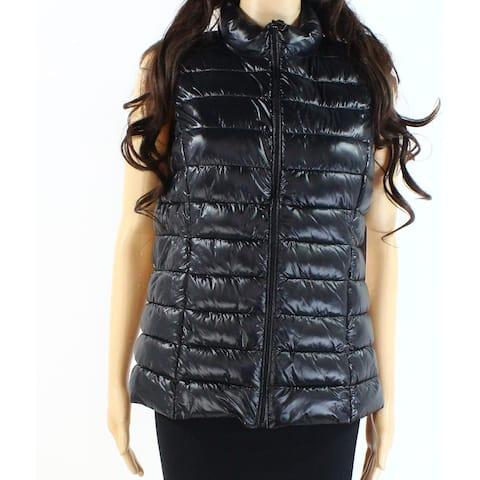 Aqua Womens Puffer Vest Black Size Medium M Full Zip Solid Sleeveless