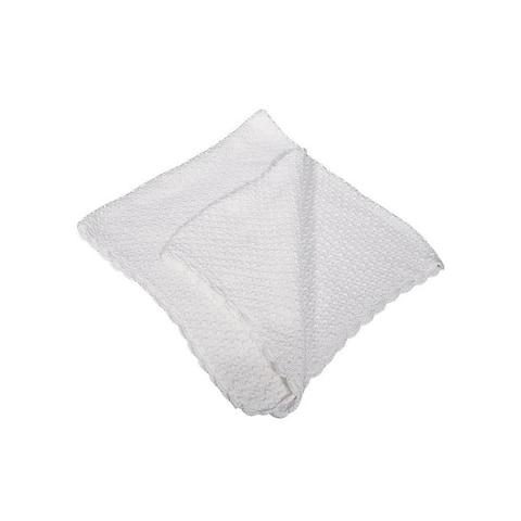 Little Things Mean A Lot White Hand Crochet Popcorn Pattern Blanket - One Size