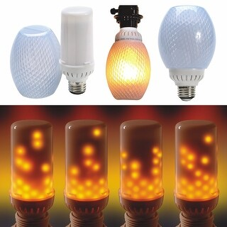 Set of 2 Flamewave Flickering Flame LED Bulb - Top Mount - Runs Top to Bottom