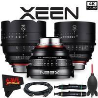 Rokinon Xeen 14mm T3.1 Lens for Canon EF Mount + Rokinon Xeen 24mm T1.5 Lens + Rokinon Xeen 50mm T1.5 Lens Bundle