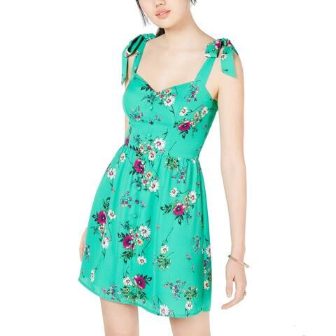 City Studio Dress Green Size 0 Junior A-Line Floral Tie Strap Sleeve
