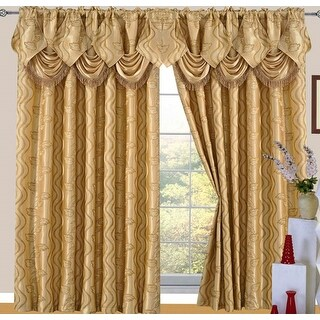 Raven Jacquard 2-Pack Rod Pocket Panel with Attached Valance and Backing, Gold, 110x84 Inches - 55x84