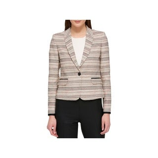 Tommy Hilfiger Womens One-Button Blazer Contrast Trim Colorblock