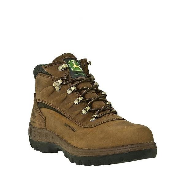 John Deere Work Boots Mens Waterproof Lace Steel Toe Poplar Tan