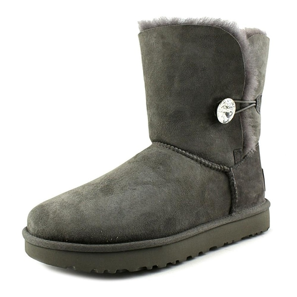 Ugg Australia Bailey Button Bling Women  Round Toe Suede Gray Mid Calf Boot