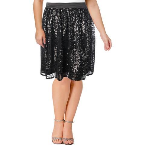 Modamix Womens Plus Pleated Skirt Sequined Above Knee