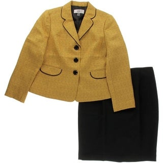 Le Suit Womens Petites Skirt Suit Tweed 2PC