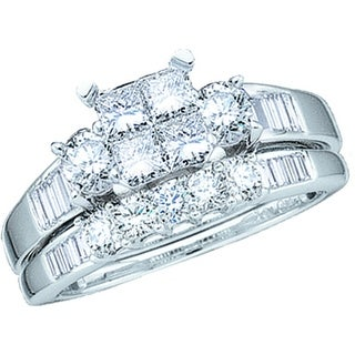 10kt White Gold Womens Natural Diamond Princess Bridal Wedding Engagement Ring Band Set 1/2 Cttw