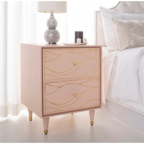 Safavieh Couture Broderick Wave Nightstand - Pink / Gold