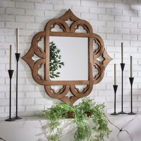 Silas Wood Moroccan Pattern Wall Mirror by iNSPIRE Q Artisan - Wall Mirror