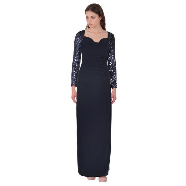 699f2da2fcbd5 Lauren Ralph Lauren Sequin Sleeve Jersey Column Evening Gown Dress Blue