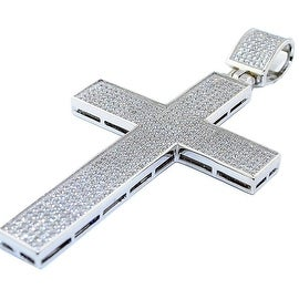 Sterling silver Cross Charm With Iced Out CZ Pave Set 64mm Tall Mens Cross Pendant Extra Large By MidwestJewellery