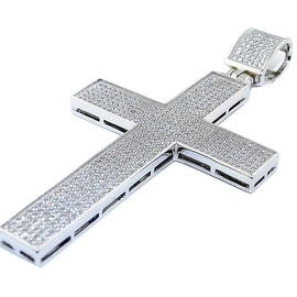 Sterling silver Cross Charm With Iced Out CZ Pave Set 64mm Tall Mens Cross Pendant Extra Large