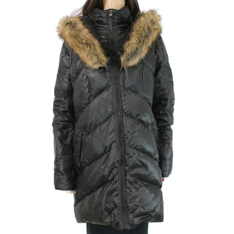 Kensie Women's Coat Classic Black Size XL Puffer Faux Fur Hooded