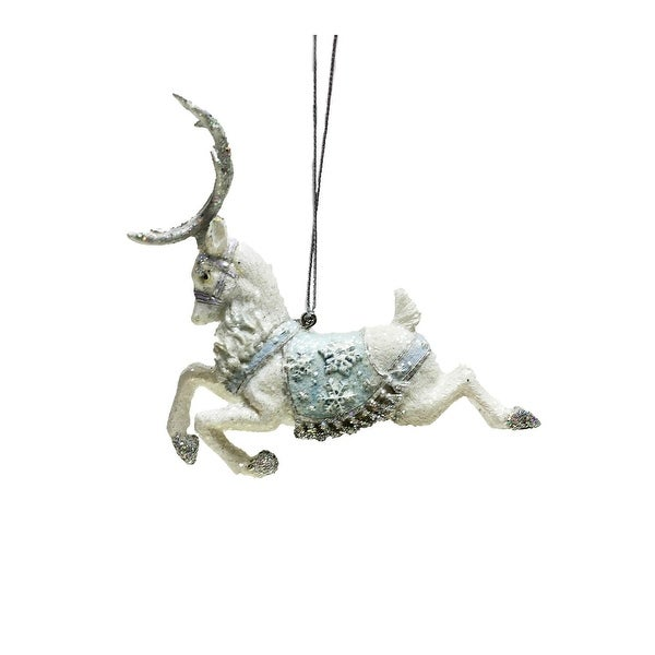 """3.75"""" Ice Palace White Glitter Leaping Reindeer Christmas Ornament"""