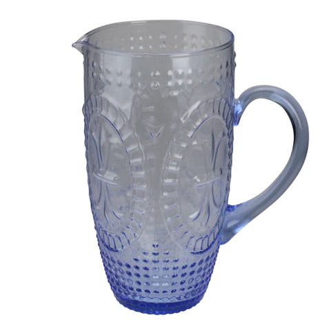 "8.75"" Blue Textured Glass Beverage Pitcher - N/A"