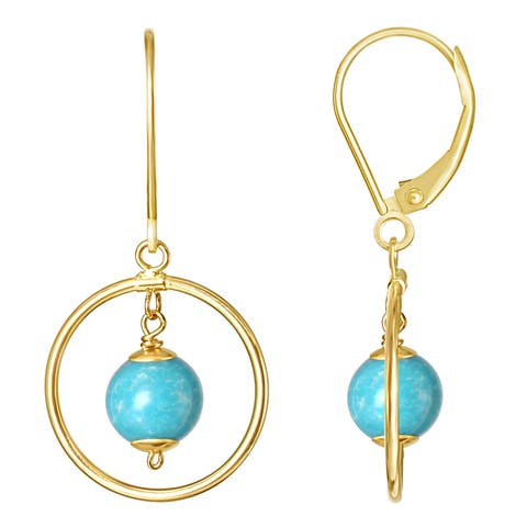 14KY Turquoise Halo Dangling Leverback Earring