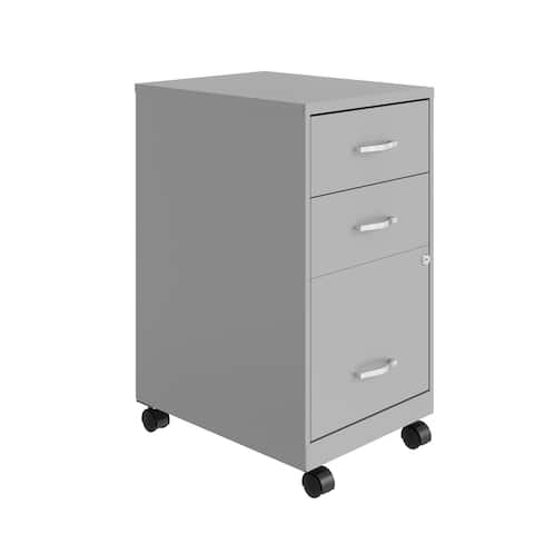 """Space Solutions 18"""" Deep 3 Drawer Mobile Metal Cabinet, Arctic Silver"""