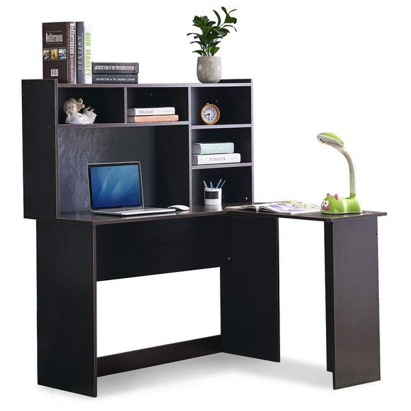 Mcombo Modern Computer Desk With Hutch L Shaped Corner Desk Overstock 30386723