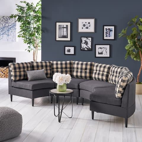 Jazmine Contemporary 4 Seater Modular Fabric Sectional by Christopher Knight Home