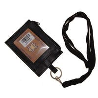 Improving Lifestyles Leather Neck ID Card Badge Holder Window ID side Zipper Pocket O Ring to Clasp Thick Soft Removeabl - Black