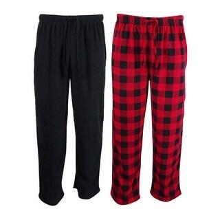 Club Room Men's Fleece 2 Pack Pajama Sleep Pants - Red/black