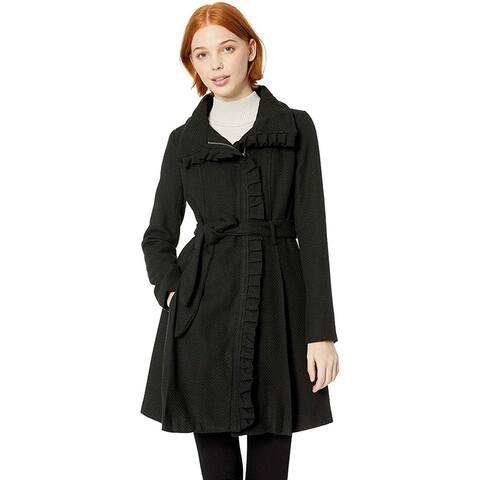 Steve Madden Women's Wool Fashion Coat, Ruffles Black, XL