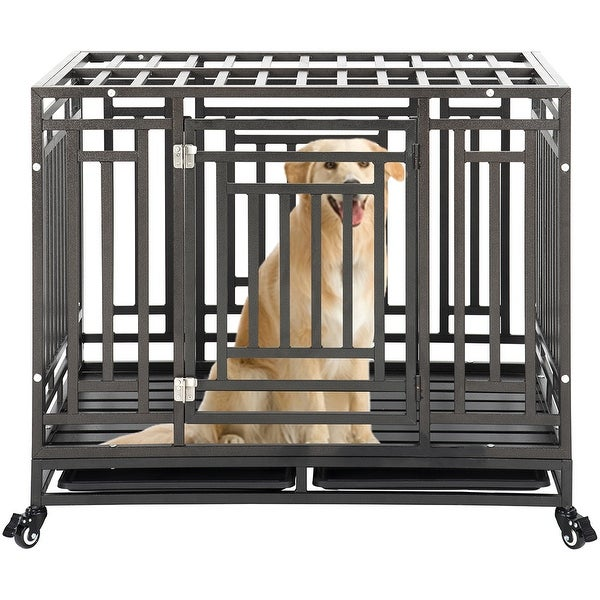 Heavy Duty Dog Crate Cage Kennel with Four Wheels. Opens flyout.