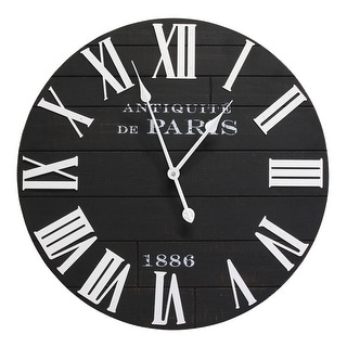 Link to Stratton Home Decor 24 inch Vincent Black and White Wood Wall Clock - 24.00 X 2.00 X 24.00 Similar Items in Decorative Accessories