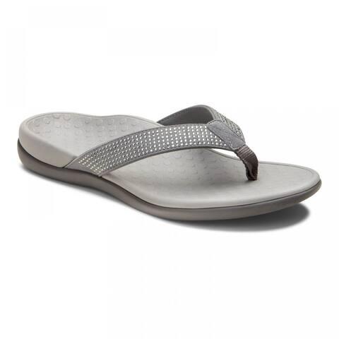 Vionic Women's Tide Rhinestones Thong Sandal Pewter