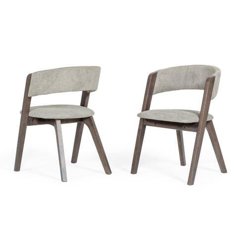 Modrest Grover Modern Grey & Dark Wenge Dining Chair (Set of 2)