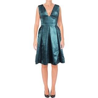 Lela Rose Womens Cocktail Dress Textured Metallic