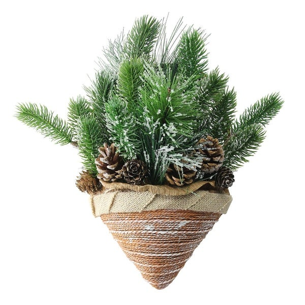 """12"""" Iced Pine Cones and Branch Tips in Burlap Basket Hanging Christmas Decoration"""