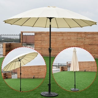 Costway Outdoor 9ft Patio Umbrella Sunshade Cover Market Garden Cafe Crank  Tilt Beige