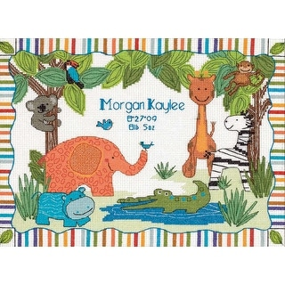 """Baby Hugs Mod Zoo Birth Record Counted Cross Stitch Kit-12""""X9"""" 14 Count"""