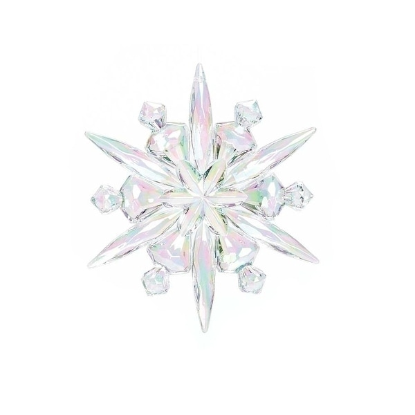 """4.75"""" Sparkling Clear Iridescent Winter Snowflake Christmas Ornament"""